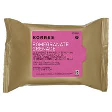 korres pomegranate cleansing makeup removing wipes