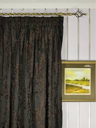 Faux Silk Embroidered Curtains Silver Embroidered Plush Vines Faux Silk Custom Made Curtains