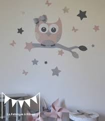 sticker chambre bebe fille stickers hibou et ses 16 étoiles poudré argent gris