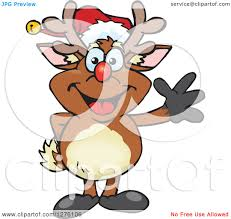 clipart of a happy rudolph christmas reindeer waving royalty