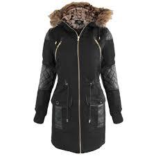 new womens black pu trim fur lined hood parka la s jacket coat