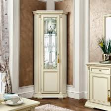 display cabinet with glass doors classic white polished corner tall display cabinet with glass door