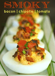 deviled egg serving dish smoky tomato bacon chipotle deviled eggs recipe weekend recipes