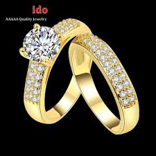 double rings jewelry images 24k gold plated yellow double rings for women girls party gift jpg