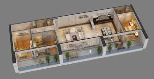 3d apartment cutaway apartment full furnitures in modern design 3d model cgstudio