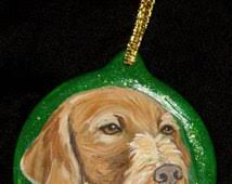 wirehaired vizsla custom painted ornament decoration