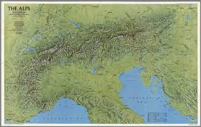 The Alps On World Map by The Alps National Geographic Society Washington D C
