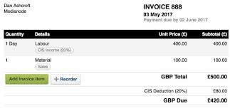 cis subcontractors u2013 freeagent support cis invoice template