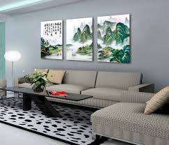 feng shui home decorating feng shui oil painting canvas mountain fortune basin green trees