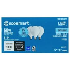 to 24 ecosmart 60w daylight g16 5 e12 candelabra frosted led