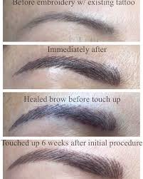 different stages of eyebrow embroidery microblading tattoo yelp