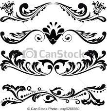vector clipart of set of symmetric ornaments 3 set of four black