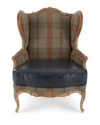 Leather Wingback Chair Massoud Sienna Blue Leather Wing Chair