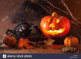 pumpkin decoration images halloween jack o lantern pumpkin decoration spiders candles stock