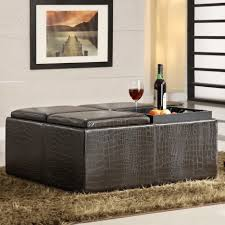 Square Ottoman Coffee Table Ottomans 4 Tray Top Black Leather Storage Ottoman Coffee Table