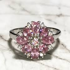 rings pink stones images Sterling silver flower with pink stones ring poshmark jpg