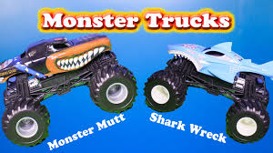 monster trucks toys monster trucks video of monster mutt u0026 shark wreck a monster truck