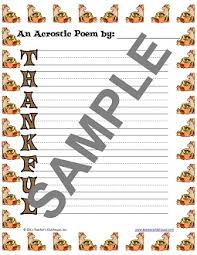 Acrostic Thanksgiving Poem November Resources From Teacher U0027s Clubhouse