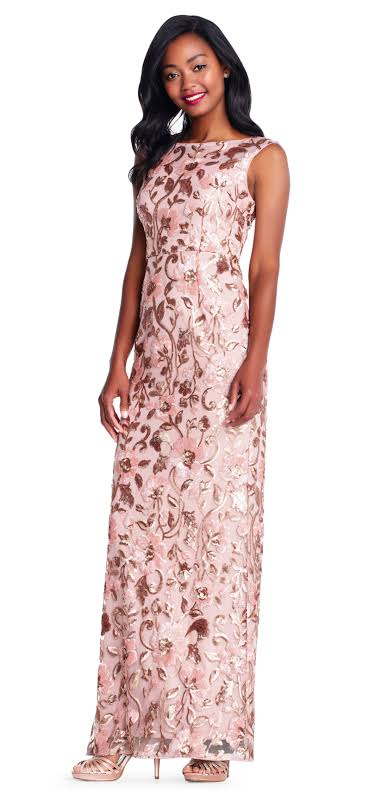 Adrianna Papell Sequined Sleeveless Evening Dress Pink 8