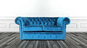 Leather Sofas Chesterfield by Mauve Leather Sofa 2 Seater Settee Pastiche Petrol Blue Velvet
