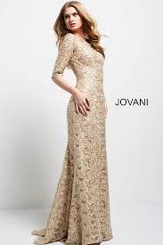 gold long fitted embellished lace boat neckline evening dress