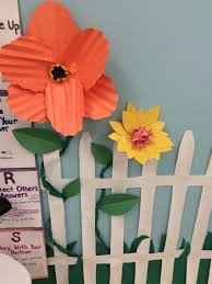 spring garden bulletin board paper flowers and fence classroom