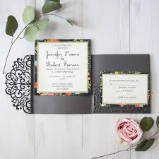 wedding invitation pockets grey floral laser cut pocket wedding invitations