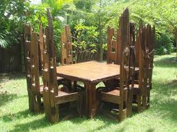 Reclaimed Teak  Chair Square Set - Reclaimed teak dining table and chairs