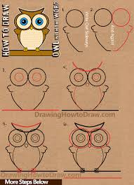 how to draw a cartoon owl from word owl drawing tutorial for kids