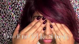 Deep Purple Color Hair Coloring Tutorial All Over Color U0026 Highlights Deep Purple
