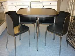 Space Saver Dining Room Table Furniture Square Black Stone Space Saver Dining Table And Leather