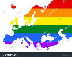 Pride Flag Colors Europe Pride Vector Map Rainbow Stock Vector 662003170