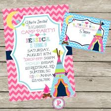 on sale glam camping party teepee invite girls camp personalized