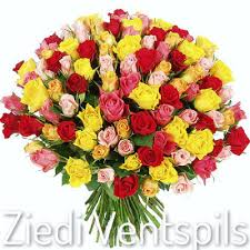 Multi Colored Roses Flower Delivery To Ventspils 101 Different Colored Rose Flower Bouquet