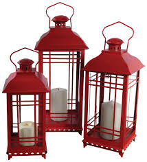 amazon com melrose international metal and glass lantern red