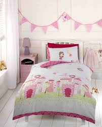 Bed Linen For Girls - girls pink fairy castle fairy tale princess toddler duvet cover