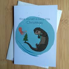 merry otter robotic relative greeting cards