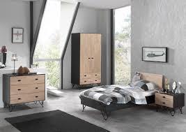 chambre enfant bois massif lit enfant contemporain en bois massif coloris chêne noir laqué