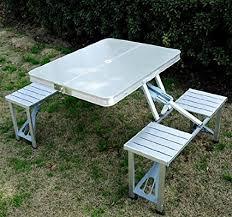aluminum portable picnic table amazon com outsunny outdoor aluminum portable folding c
