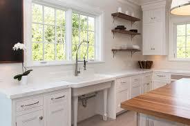 Freestanding Vintage Kitchen Sink Under Windows Transitional - Kitchen sink windows