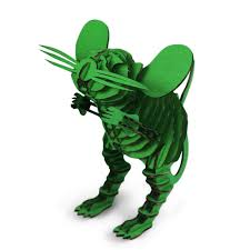 green mouse 3d paper puzzle creative diy cardboard craft home