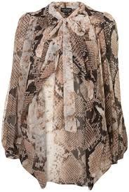 snake print blouse print waterfall blouse blouses shirts tops clothing