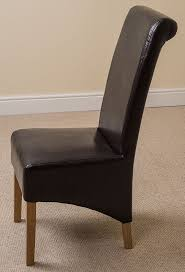 Scroll Back Leather Dining Chairs X2 Montana Scroll Back Leather Dining Chairs Brown Co Uk