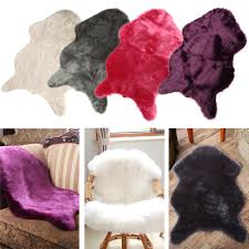 Washable Bedroom Rugs Hairy Carpet Sheepskin Chair Cover Bedroom Faux Mat Seat Pad