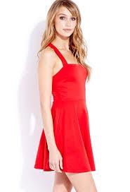forever 21 posh skater dress in red lyst