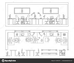 architectural set of furniture design elements for floor plan architectural set of furniture design elements for floor plan premises thin lines icons