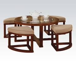Chair Ottoman Sets Patia Round Cherry Finish Coffee Table And Ottoman Set