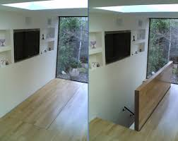 meia automated hinged floor hatch power operated timber clad