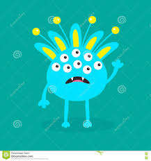 happy halloween funny blue monster with ears fang tooth and horns funny cute cartoon