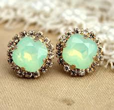 vintage earrings mint earrings mint opal studs bridal mint earrings swarovski